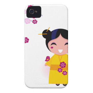 Little yellow Geisha on white iPhone 4 Cover