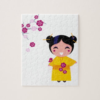 Little yellow Geisha on white Jigsaw Puzzle
