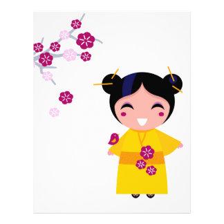 Little yellow Geisha on white Letterhead