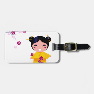 Little yellow Geisha on white Luggage Tag