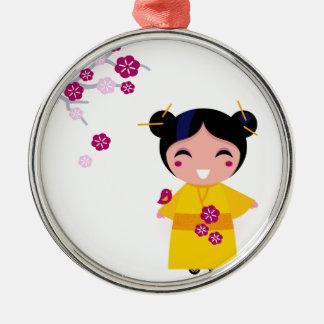 Little yellow Geisha on white Metal Ornament