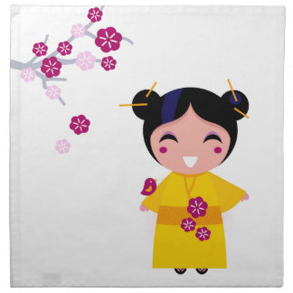 Little yellow Geisha on white Napkin