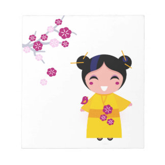 Little yellow Geisha on white Notepad