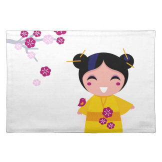 Little yellow Geisha on white Placemat