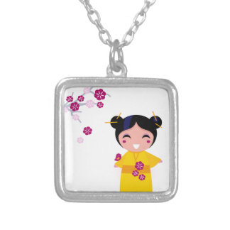 Little yellow Geisha on white Silver Plated Necklace