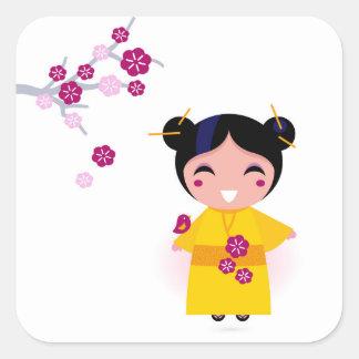 Little yellow Geisha on white Square Sticker