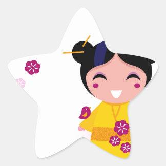 Little yellow Geisha on white Star Sticker