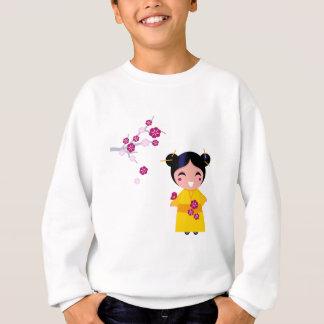 Little yellow Geisha on white Sweatshirt