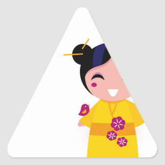 Little yellow Geisha on white Triangle Sticker
