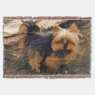 Little Yorkie   - Yorkshire Terrier Dog Throw Blanket