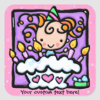 LittleGirlie a un ROSE de fête d'anniversaire Sticker Carré