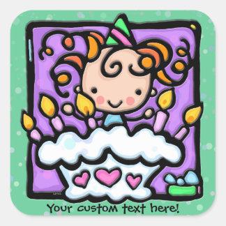 LittleGirlie a un VERT de fête d'anniversaire Sticker Carré