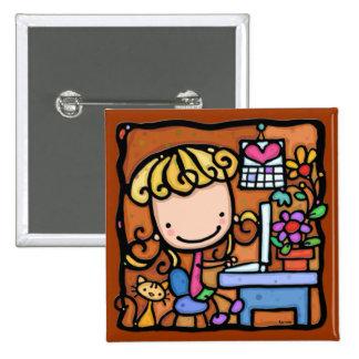 LittleGirlie aime son ROUGE d ordinateur portable Pin's
