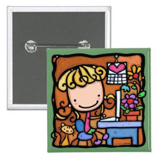 LittleGirlie aime son VERT d ordinateur portable e Badge Avec Épingle