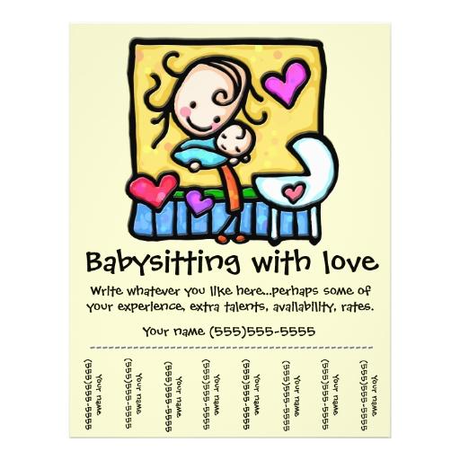Littlegirlie Babysitting Custom Tear Sheet Flyer Zazzle