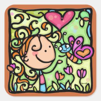 LittleGirlie et son papillon. Autocollant carré du