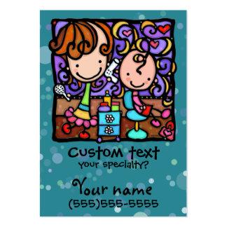 LittleGirlie has a Beauty Salon TEAL business card