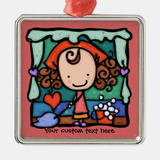 LittleGirlie is a little clean freak! ROSE Silver-Colored Square Ornament