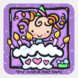 LittleGirlie is having a birthday party PURPLE Square Sticker