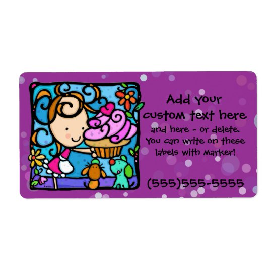 LittleGirlie loves cupcake baking Custom label