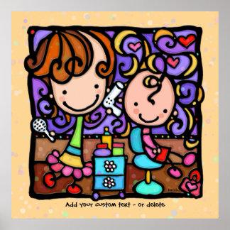 LittleGirlie loves her Hair Salon TAN custom art Poster