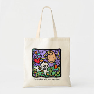 LittleGirlie loves her puppy. Personalized tote