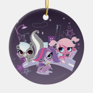 Littlest Pets in the Big City 2 Round Ceramic Ornament