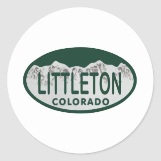Littleton license oval round sticker