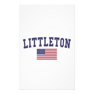 Littleton US Flag Customized Stationery