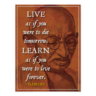 Live and Learn - Inspirational Gandhi quote poster