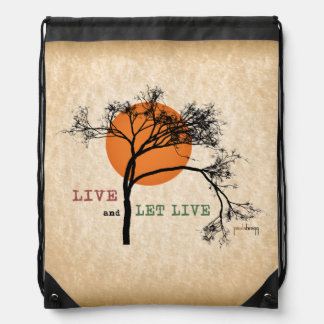 Live and Let Live (Recovery Silhouettes) Drawstring Bag