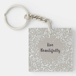 Live Beautifully Double-Sided Keychain