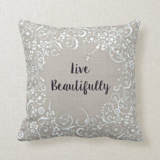 Live Beautifully Linen-Look Cotton Pillow