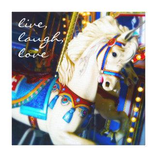 """Live"" colorful carousel horse photo art canvas"