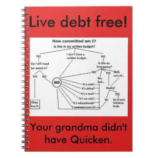 live debt free and track spending spiral notebook