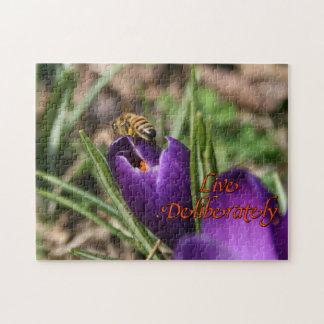 Live Deliberately w/honey bee pollinating Crocus Jigsaw Puzzle