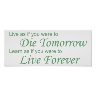 Live - Die Tomorrow green Poster