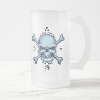 Live Fast, Play Hard Frosted Glass Beer Mug