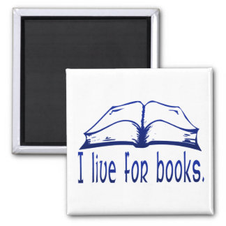 Live for Books Square Magnet