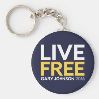 Live Free Basic Round Button Keychain