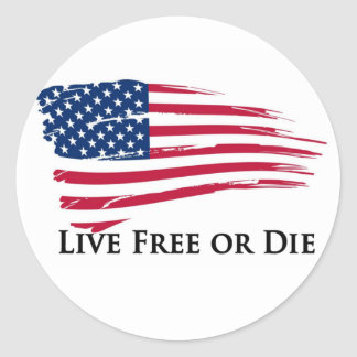 Live Free Or American Flag - New Hampshire Classic Round Sticker