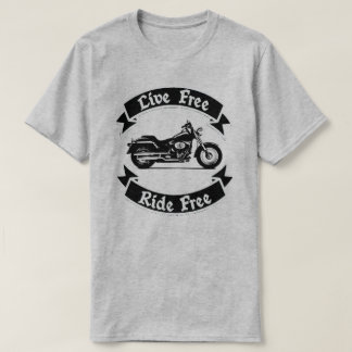 Live Free Ride Free Silhouette Motorcycle T-Shirt