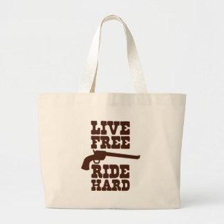LIVE FREE RIDE HARD cowboy rodeo motto Large Tote Bag