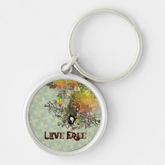Live Free Silver-Colored Round Keychain