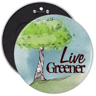 Live Green 6 Inch Round Button