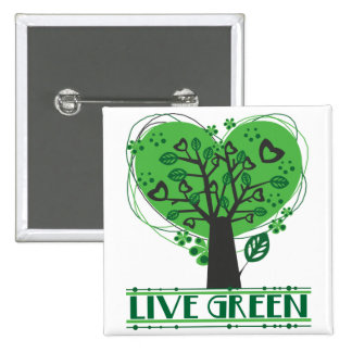 Live Green Abstract Tree Buttons