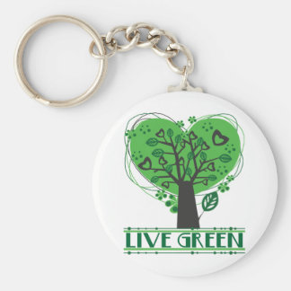 Live Green Abstract Tree Keychains