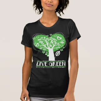 Live Green Abstract Tree T Shirts