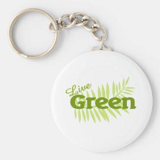 live green fern basic round button keychain