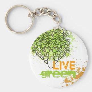 Live Green Basic Round Button Keychain
